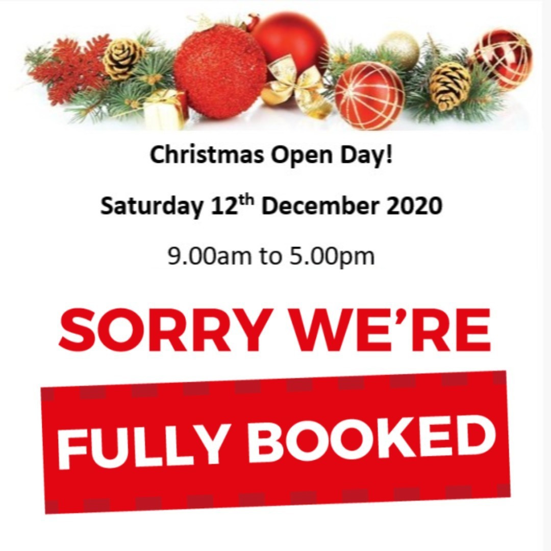 FULLY BOOKED - Open Day 12.12.2020